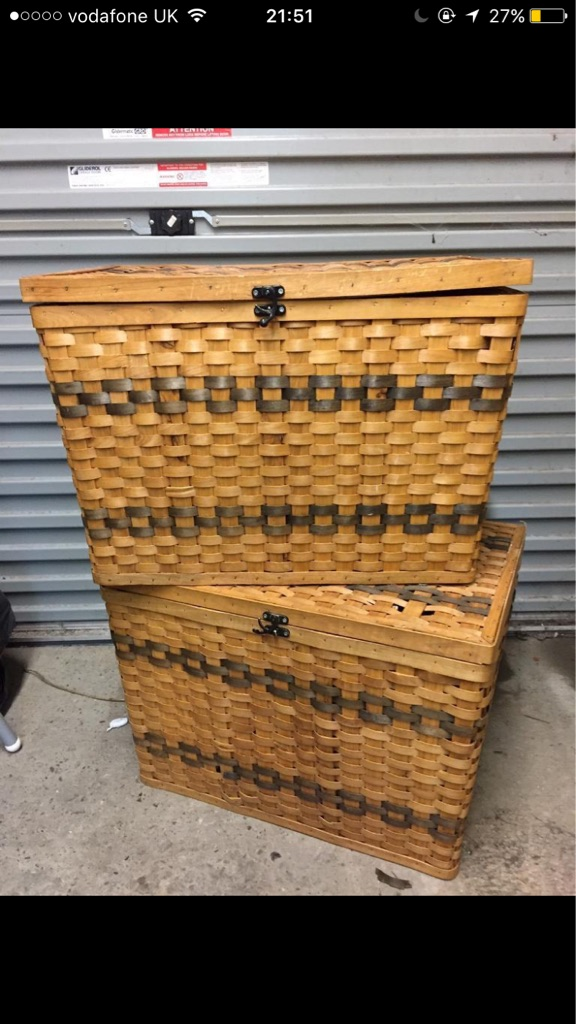 Two wicker / woven basket style chests