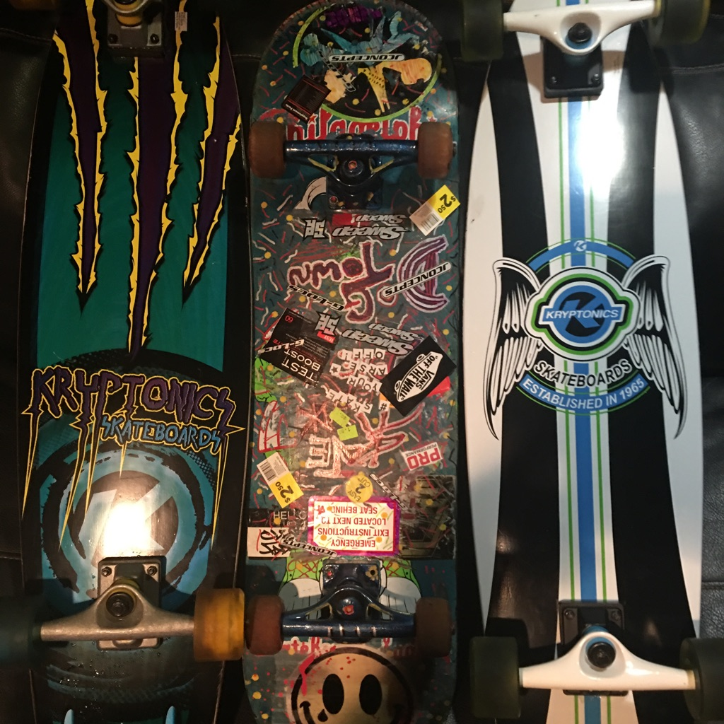 3 skateboards 2 Kryptonics longboards and a trick board