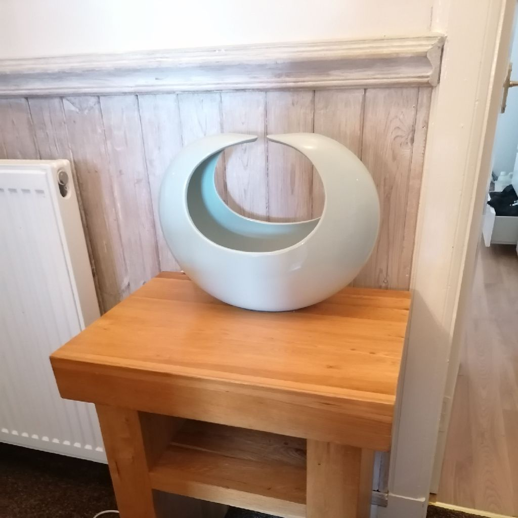 Solid oak side table and lamp