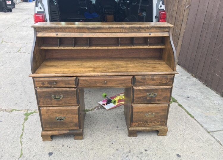 Brown wooden pedestal desk dresser