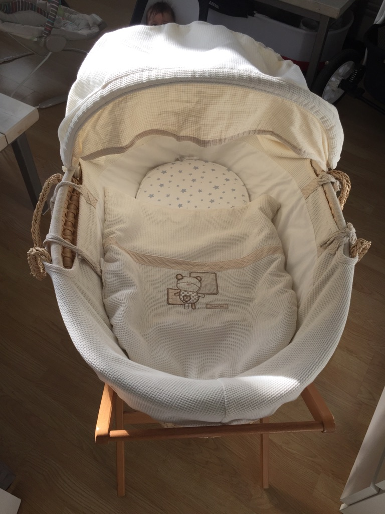 Mamas & Papas Moses basket with stand , mattress and sheets