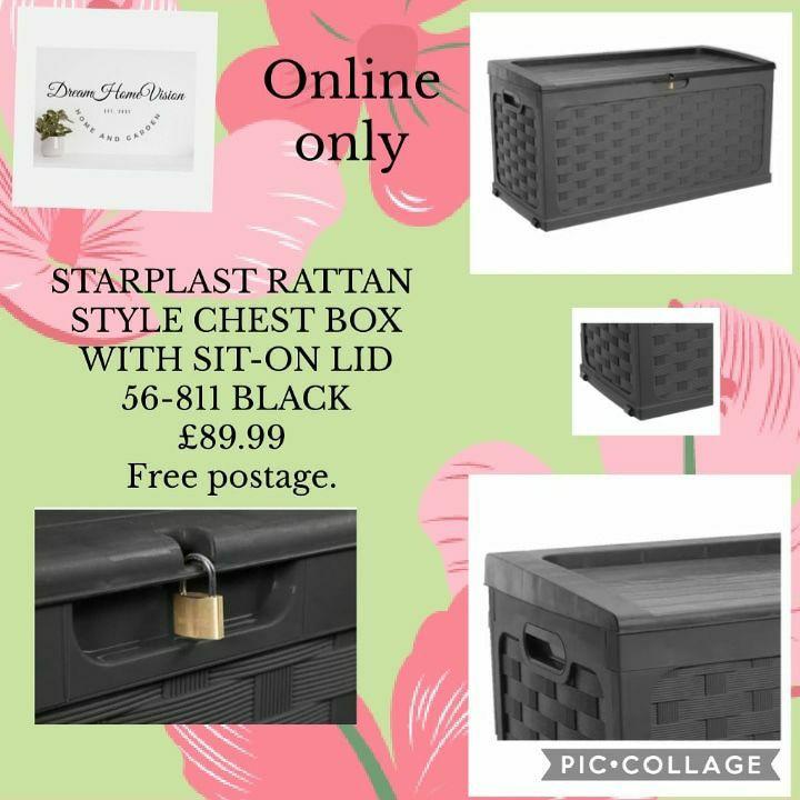 STARPLAST RATTAN STYLE CHEST BOX WITH SIT-ON LID 56-811 BLACK