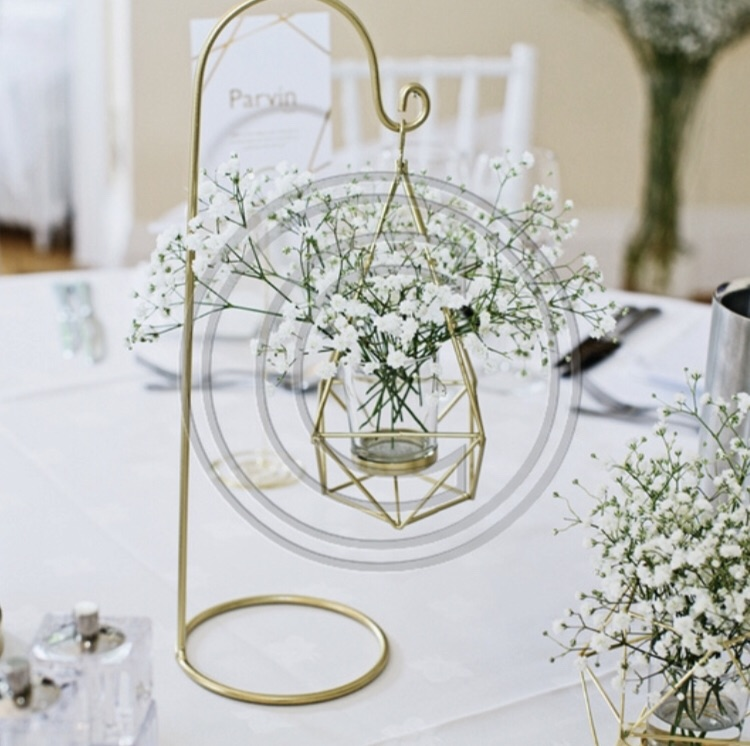 Geometric Gold Lantern Tealight/flower holder- wedding Table Centrepiece