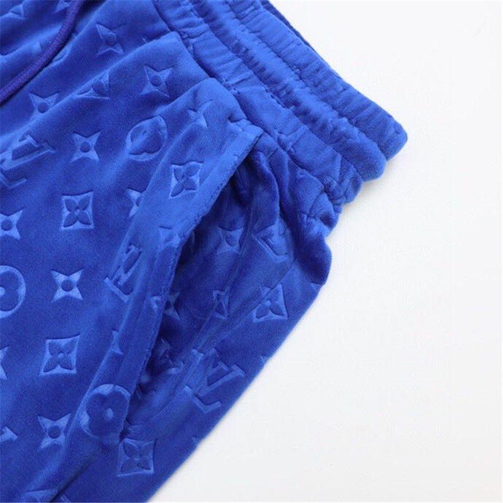LV Monogram Print Jacquard Shorts in Blue