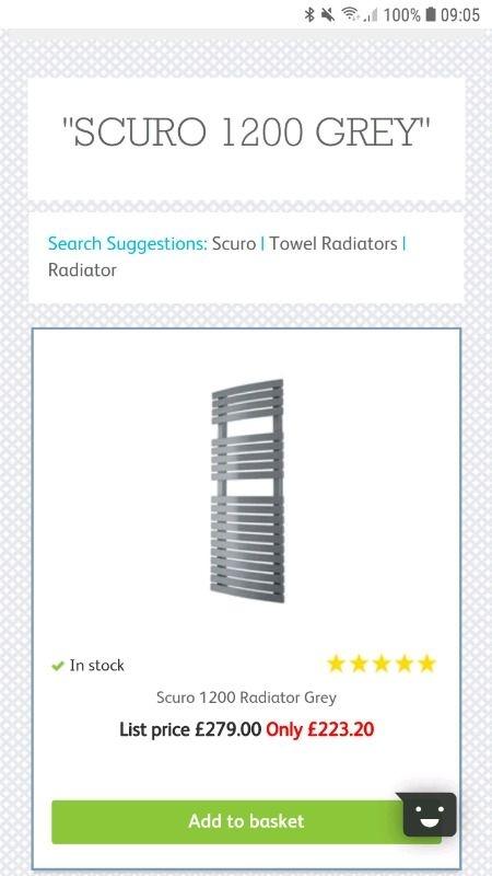 Bathstore Scuro 1200 Grey heated towel rail