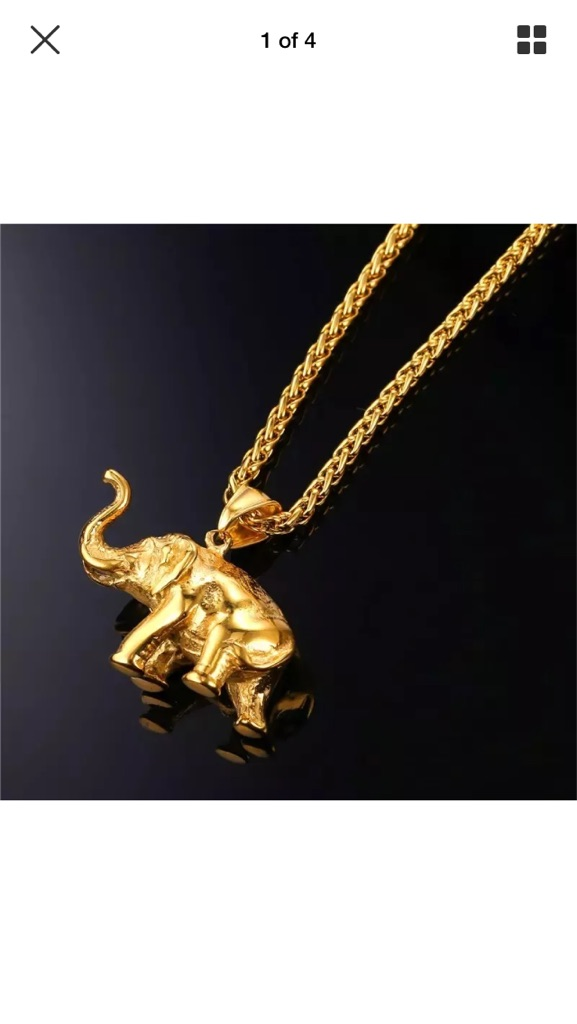 U7 18k Gold Plated Lucky Elephant Pendant
