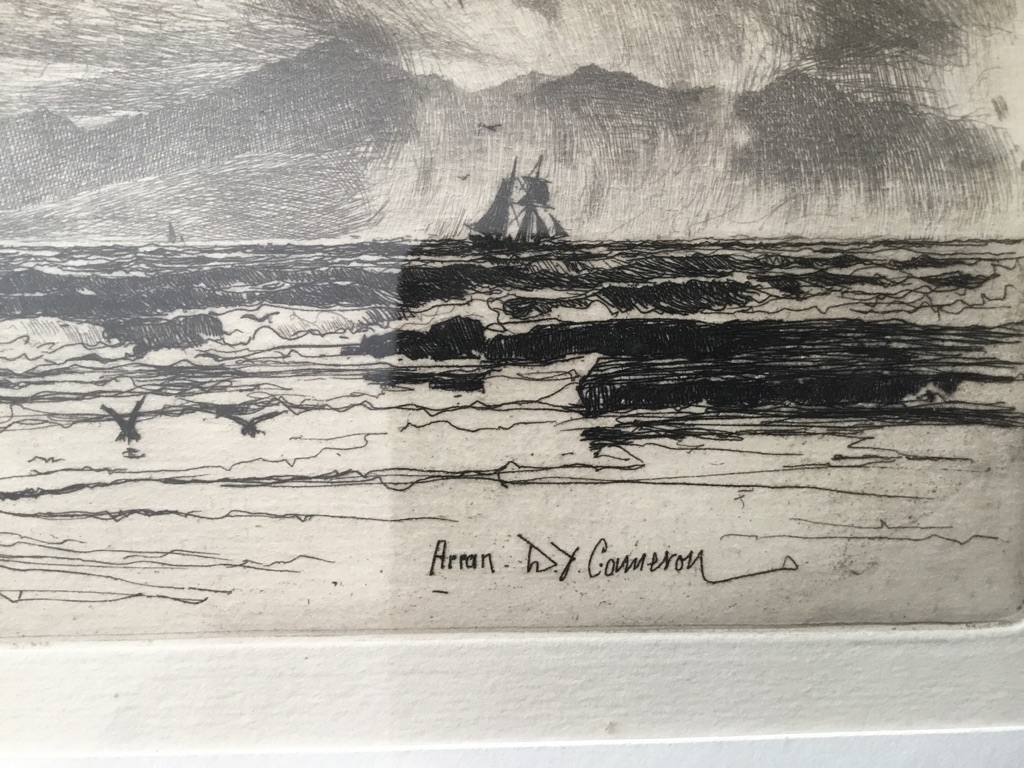David young Cameron 1865 1945 arran original etching this is a fine empression with good margins on cream wove paper signed and titled on the plate by D Y Cameron 18in 12in