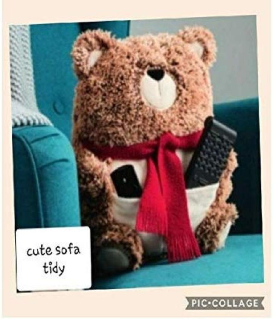 Avon Bear Sofa Tidy Remote Control Holder Cushion Pillow. 2 Pockets. Cute, Soft