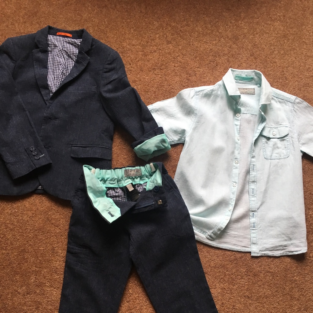 Boys linen suit and matching shirt