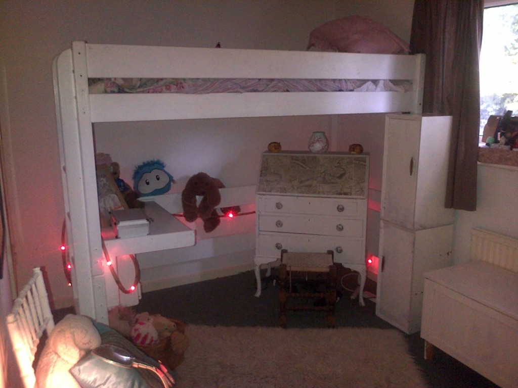 White Single Loft Bed