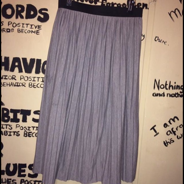 Grey Knee Length Pleated Skirt