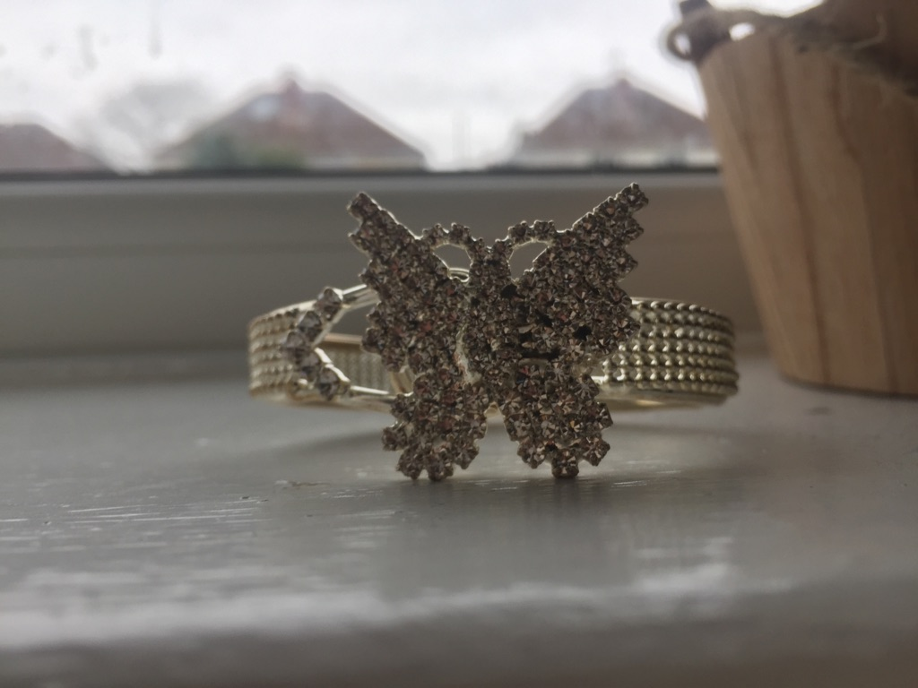 Diamanté butterfly bangle