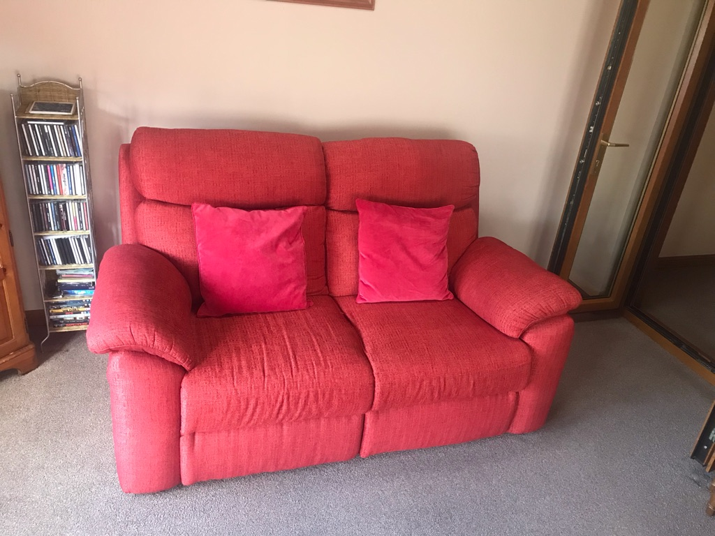 Fabric red two and three seater