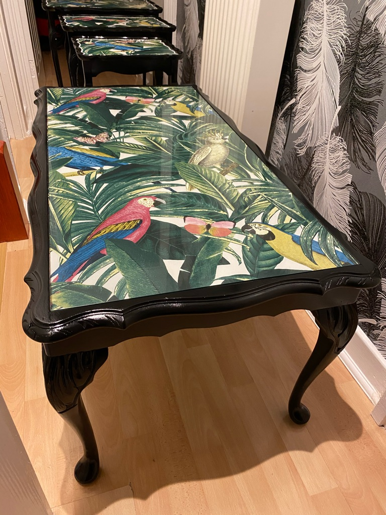 Upcycled parrot coffee table and matching nest of tables
