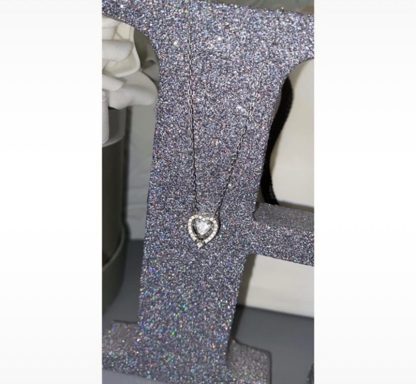 Genuine Swarovski sparkling dance Rhodium plated & clear crystal heart necklace