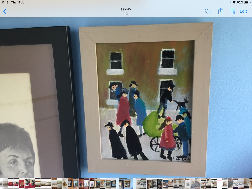 L S Lowry oil on canvas H11in W9in man walking his dog woman with pram people around