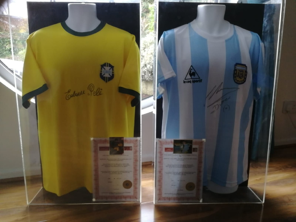 Authentic Signed Pele and Maradona Football Shirts