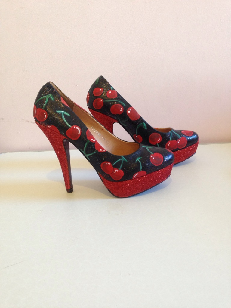 Gorgeous black and red cherry design shoes