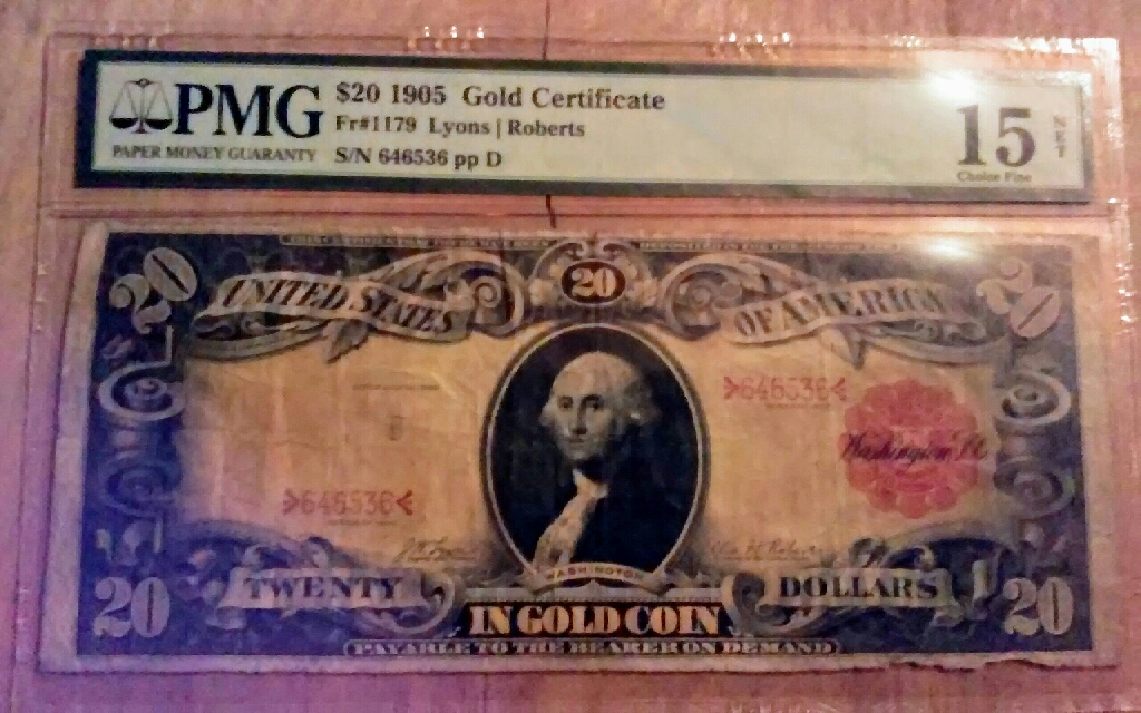 Very Rare1905 US $20 gold note