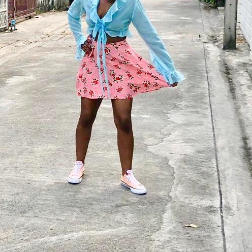 Topshop pink cherry skirt
