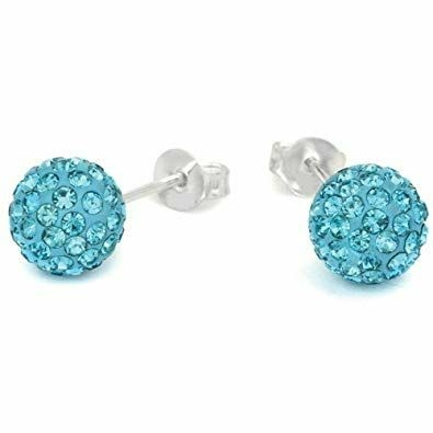 Stunning Swarovski Crystal Ball Stud Earrings Brand New Two Pairs White And Turquoise 12