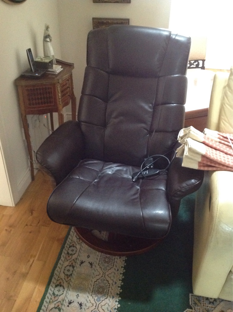 Faux leather electric reclining massage chair