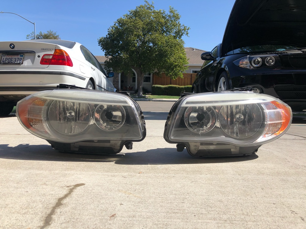 BMW e82 stock headlights