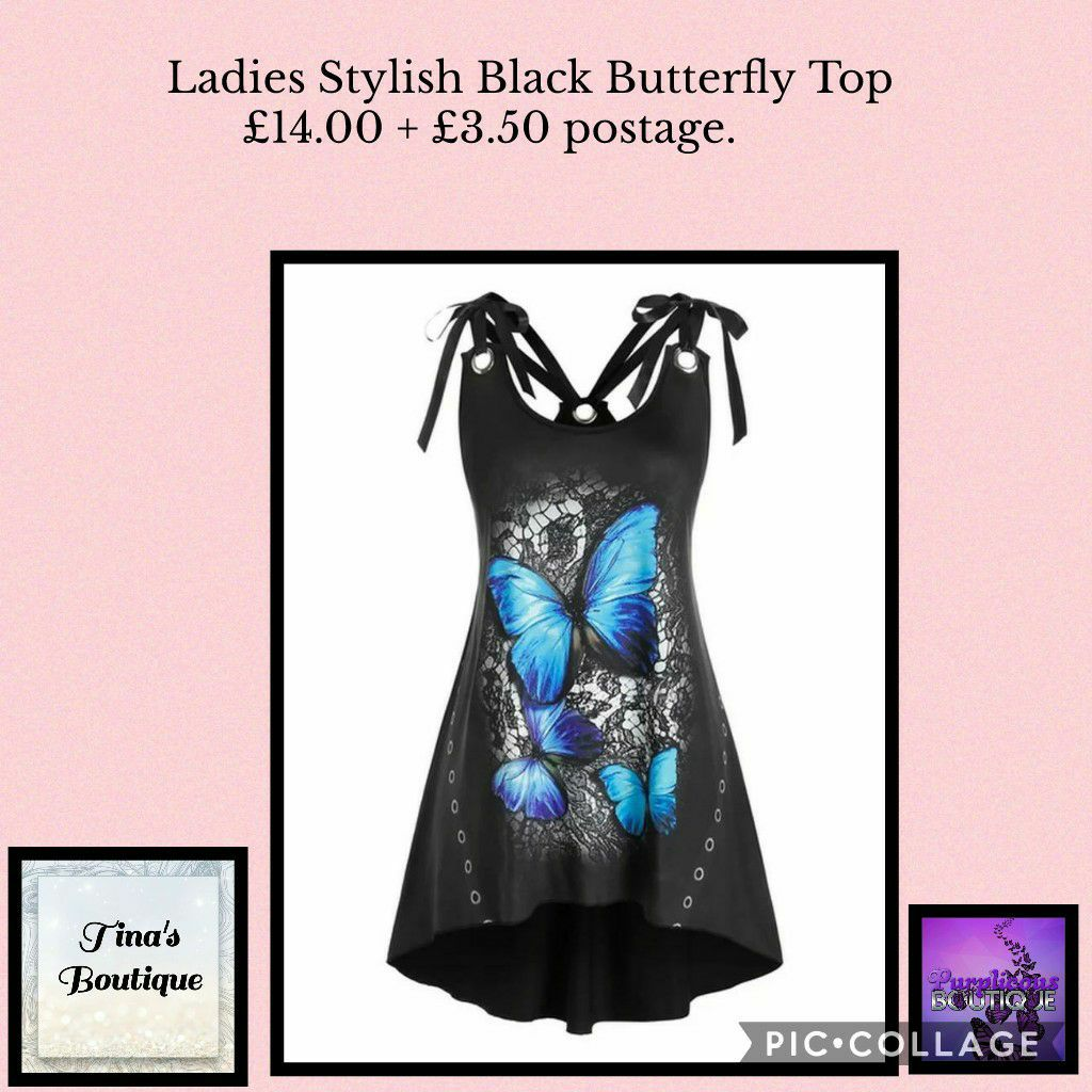 Ladies Stylish Black Butterfly Top