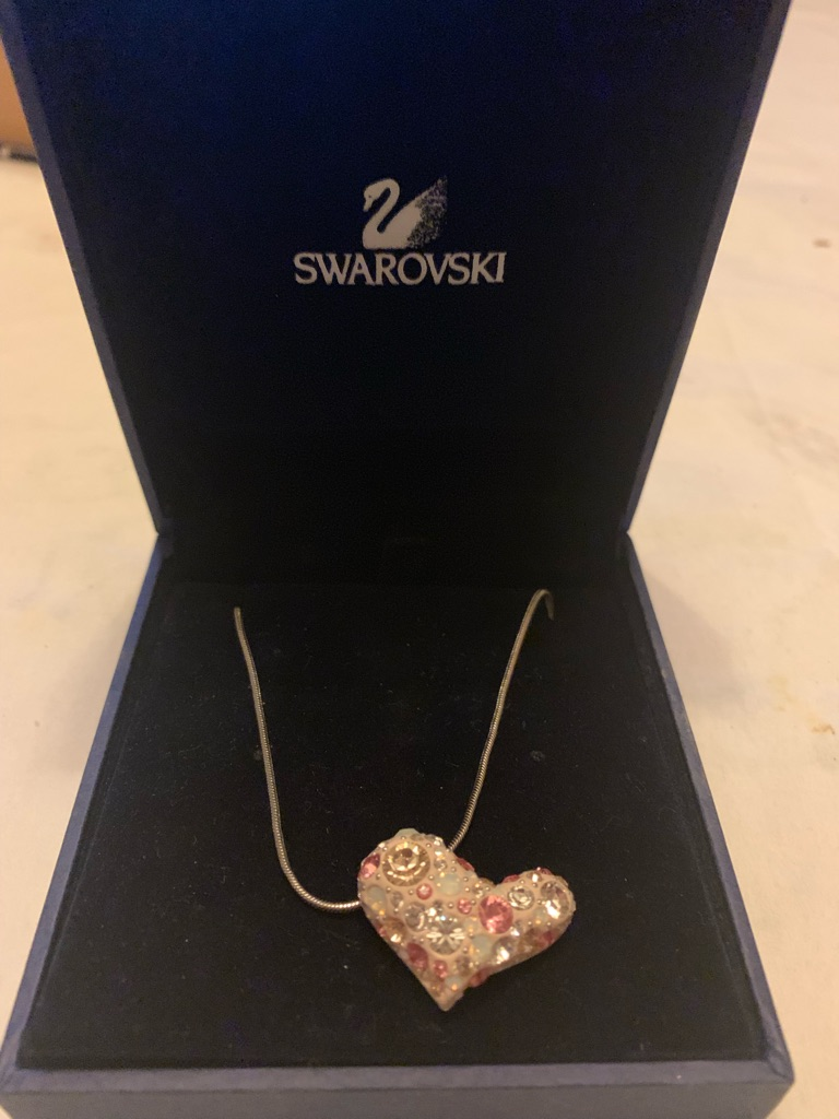 Silver and Pink Swarovski Heart Necklace