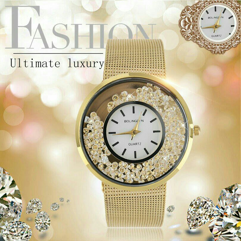 Fashion Luxury Fine Stainless Steel Gold Casual Quartz Wrist Watches