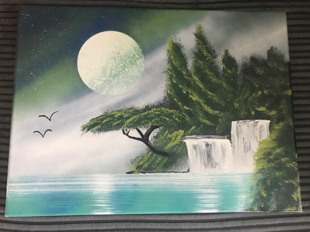 Spray painted waterfall picture