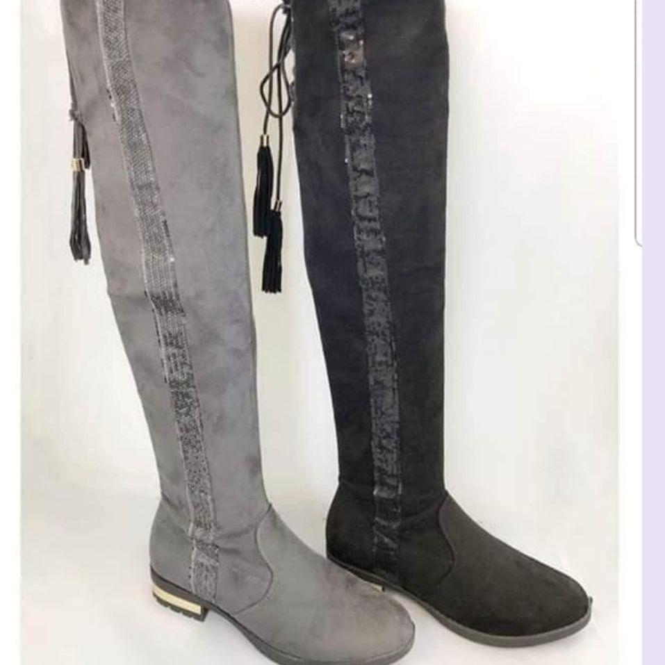 Grey knee high boots