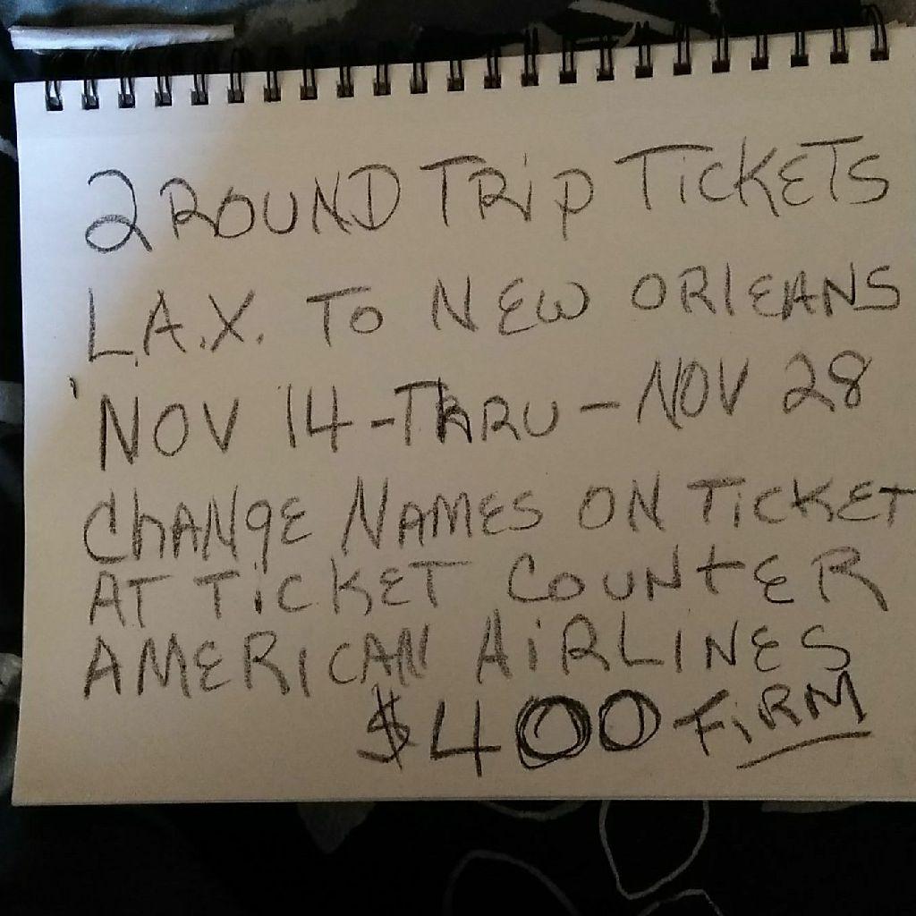 2 round trip tickets LAX to New Orleans
