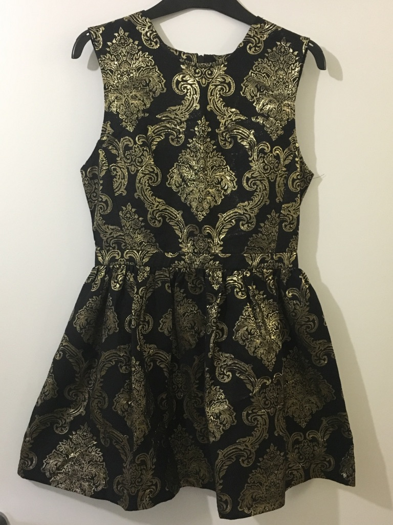 Oasis black and gold dress size 10