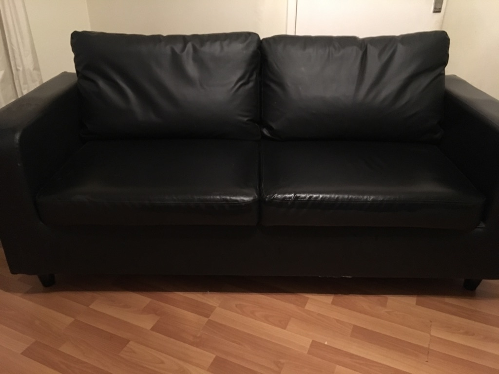Black Leather Couch 6ft by 2ft
