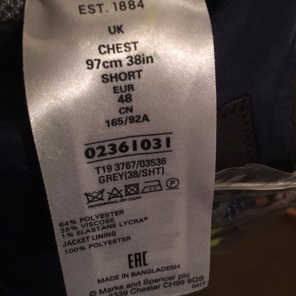 Marks and Spencer Grey Jacket 38S Regular Fit