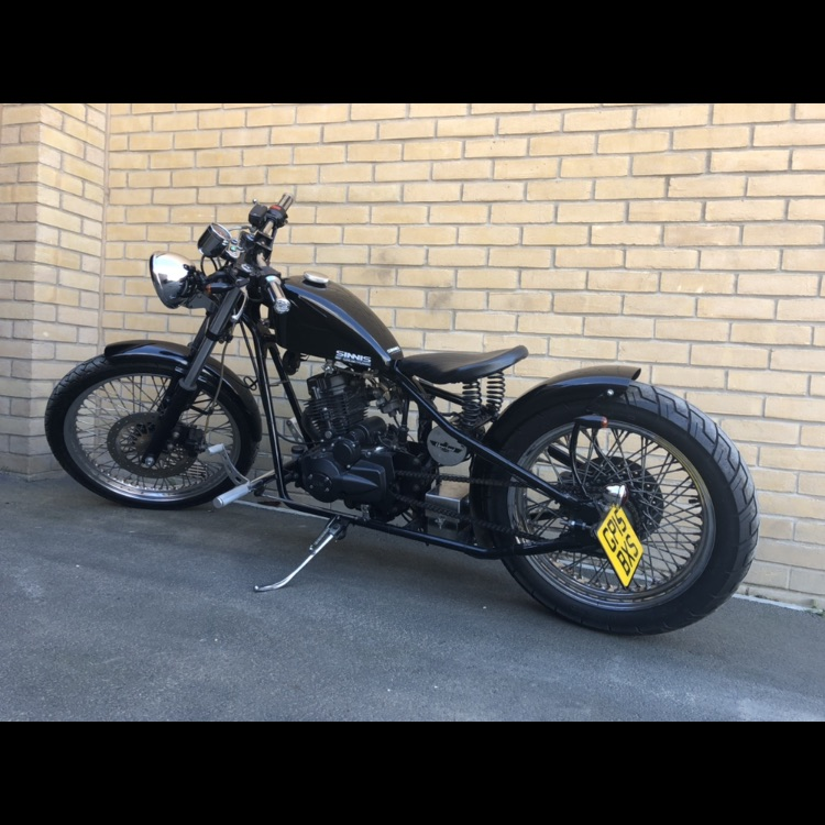 125cc Hardtail bobber Sinnis heist motorcycle