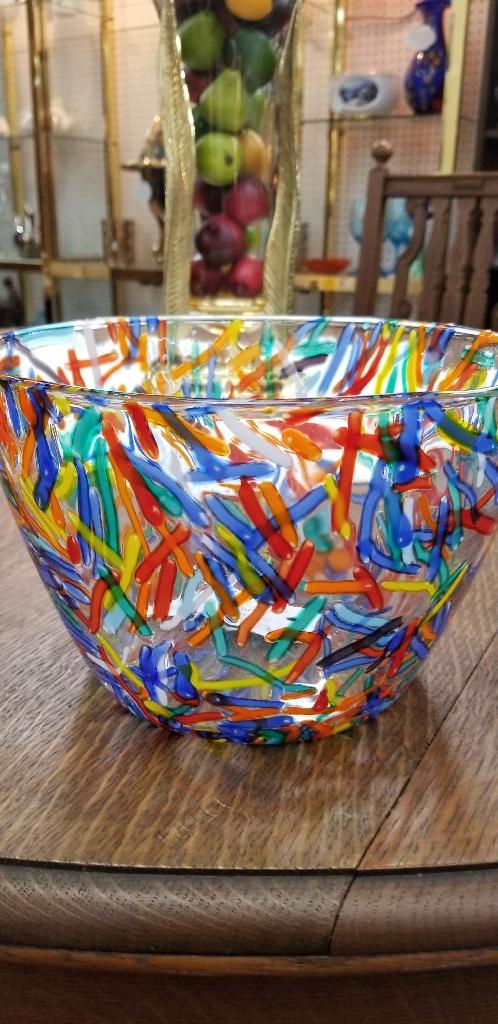 GLASS BOWL AND PITCHER  CONFETTI  DESIGN