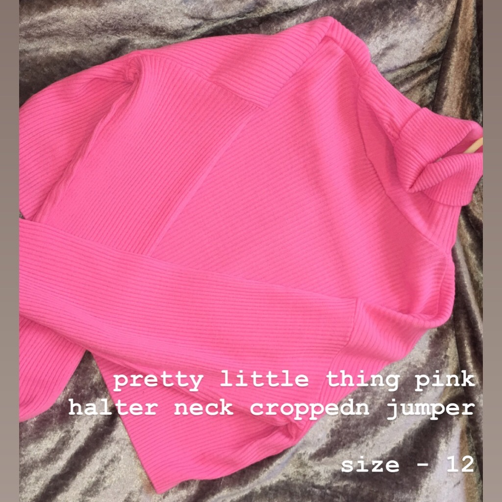 Pretty Little Thing Halter Neck Pink Jumper
