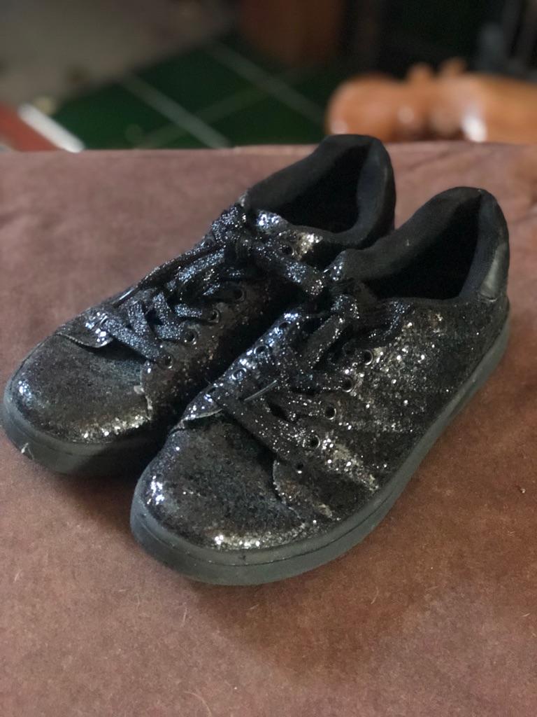 ASOS glitter black trainers | Village