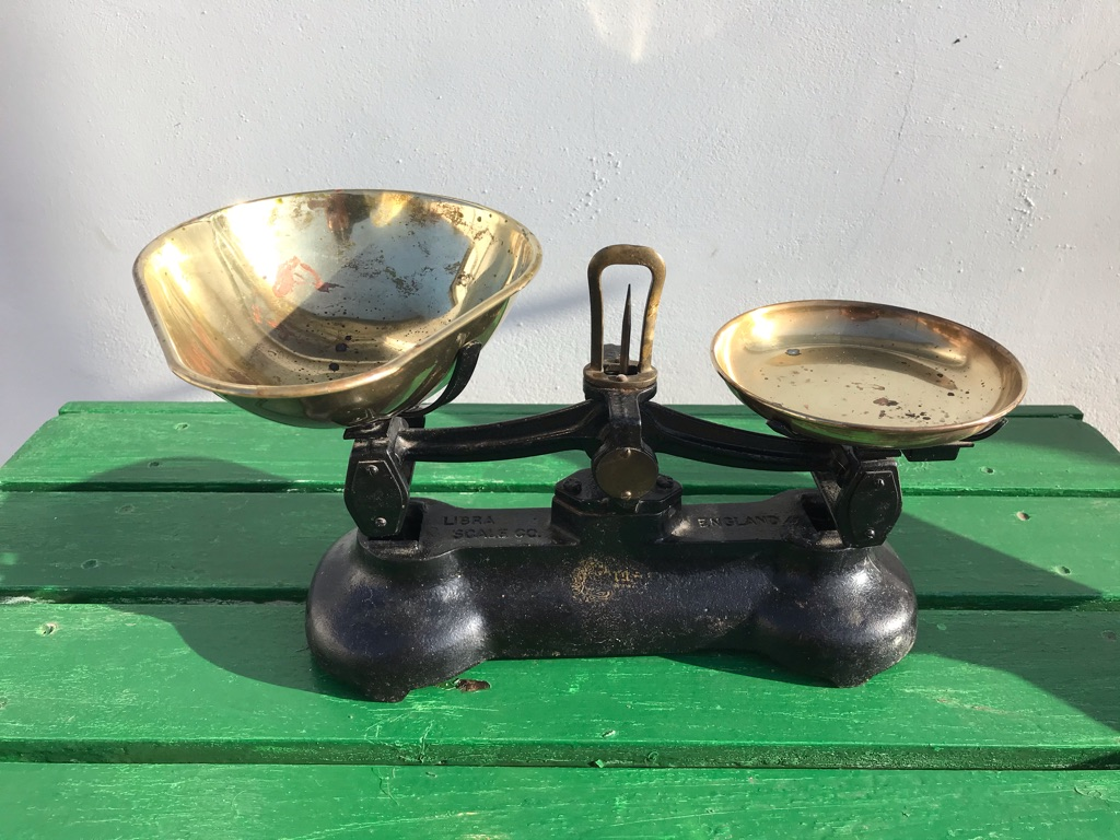 Vintage Librasco Cast Iron Scales and Brass Weights