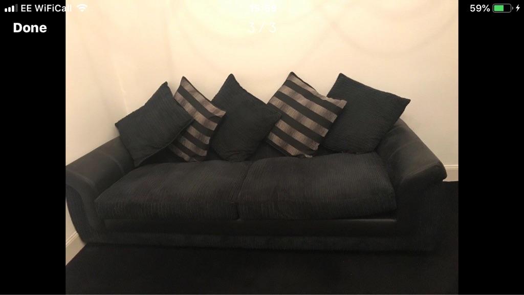 DFS 3/4 seater corduroy black sofa