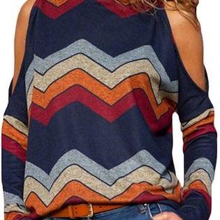 Women's cold shoulder turtle neck long sleeve geometric stripe top