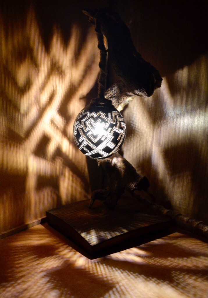 Twisted Hand Crafted Lamp Made With Natural Coconut Shell, Wood and an old whisky barrel