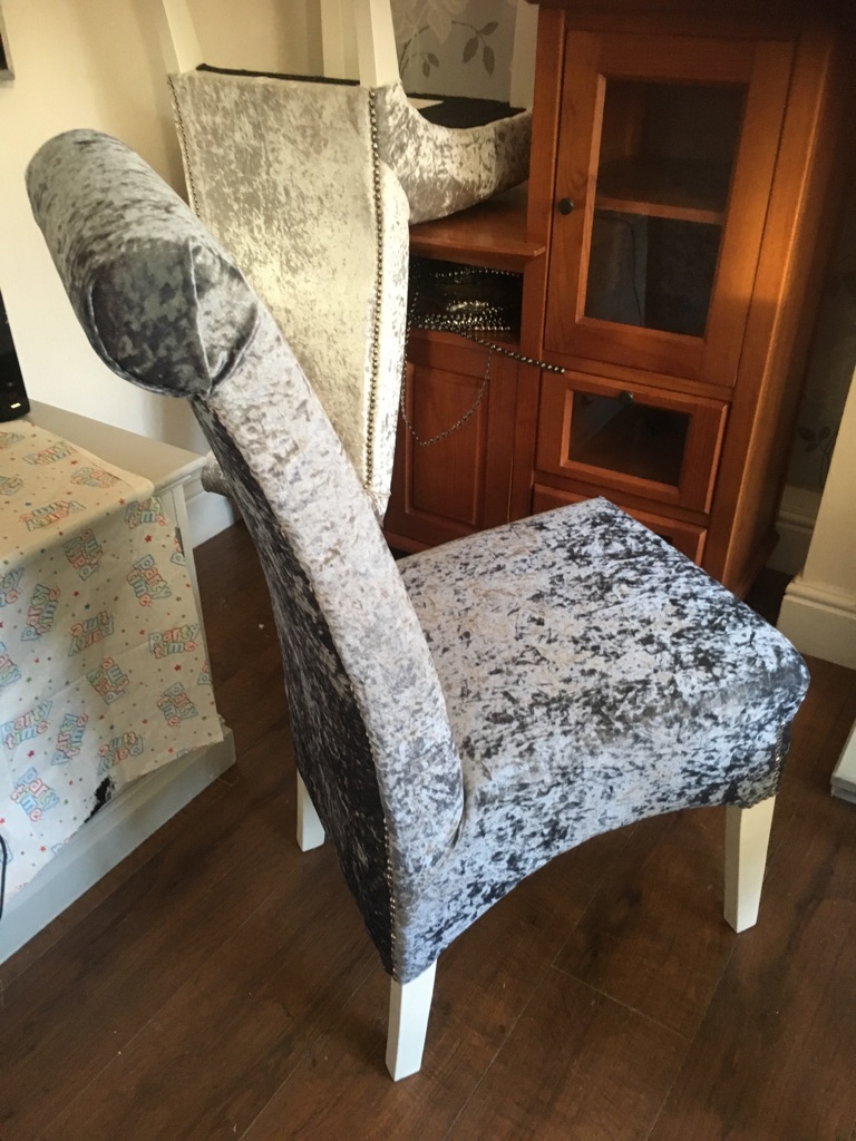Slate grey newly upholstered chairs