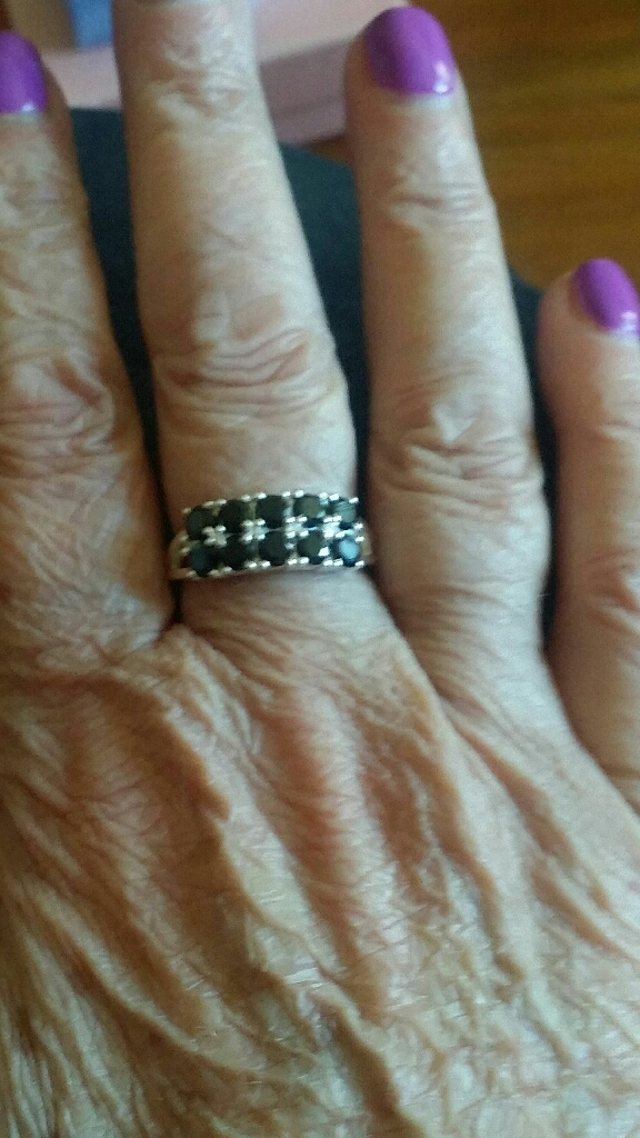 2 Sterling silver Black Spinel Cluster rings