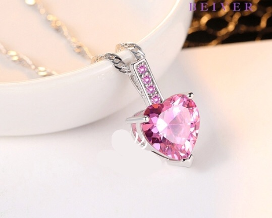 3.0 CTTW Pink CZ Heart Pendant & Necklace