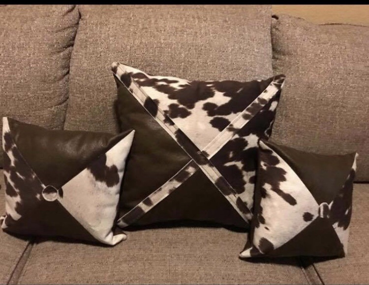Decorative cow print pillows