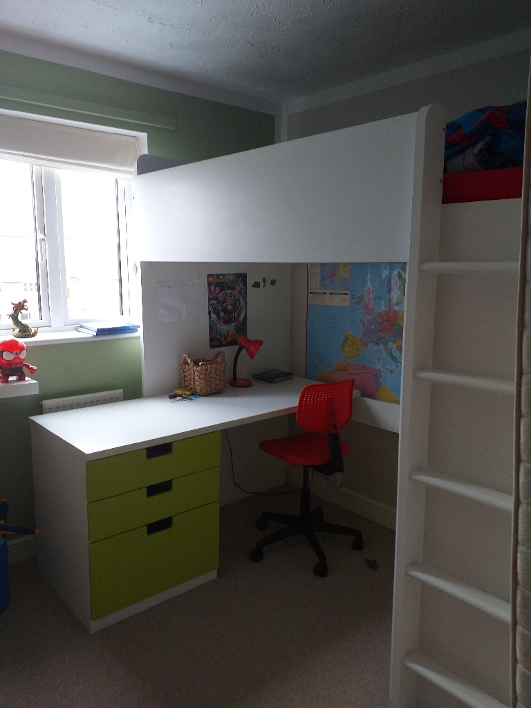 Single  children bed with desk and wardrobe