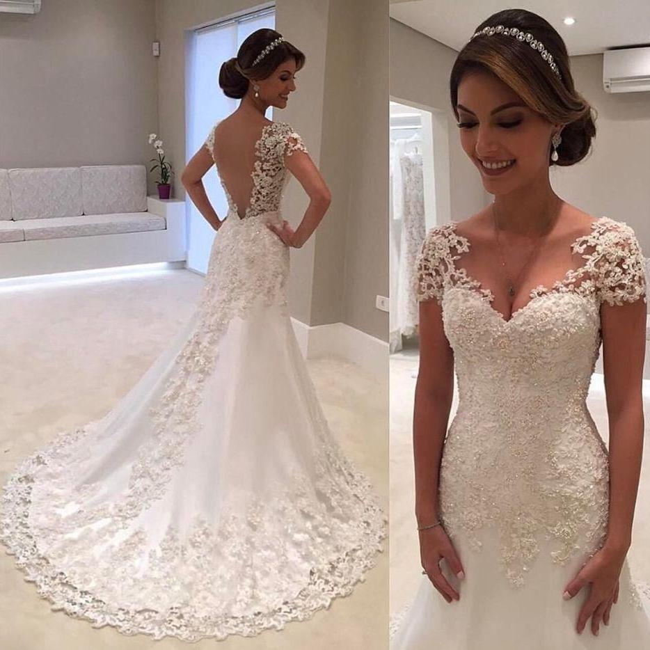 2019 New Illusion White Backless Lace Mermaid Wedding Dress Custom Sizing